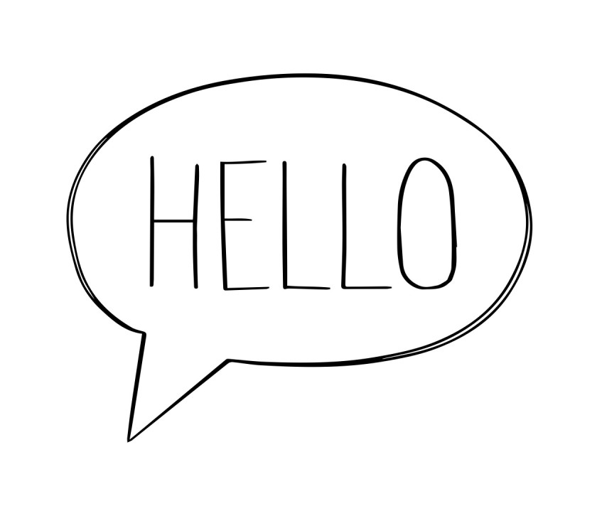 english phrases hello a speech bubble with hello written inside of it