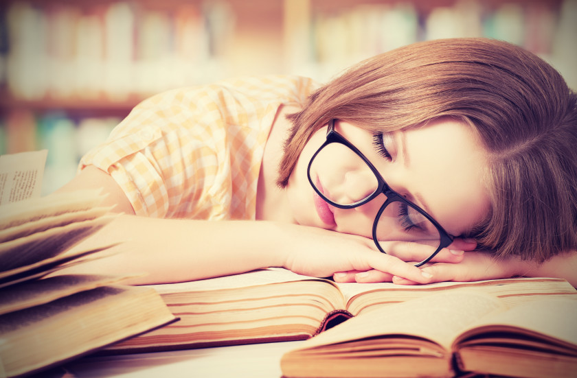english phrases knackered tired student sleeping on books