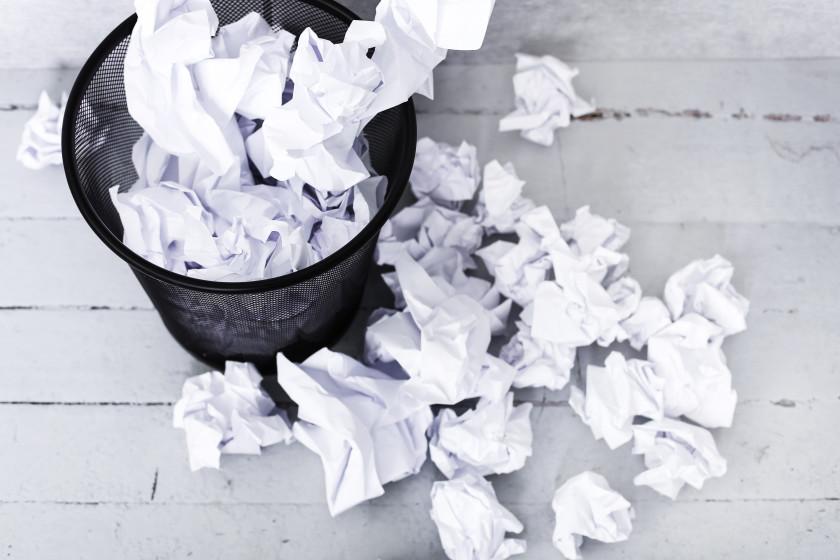 english phrases rubbish waste paper bin overflowing