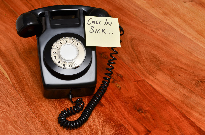 english phrases skive an old fashioned telephone with a call in sick post it not