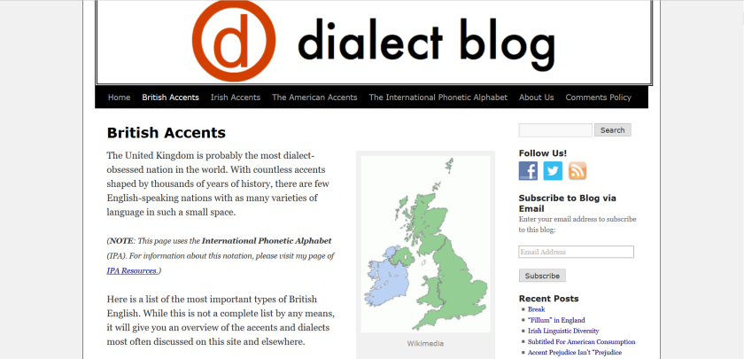 websites for uk study: dialect