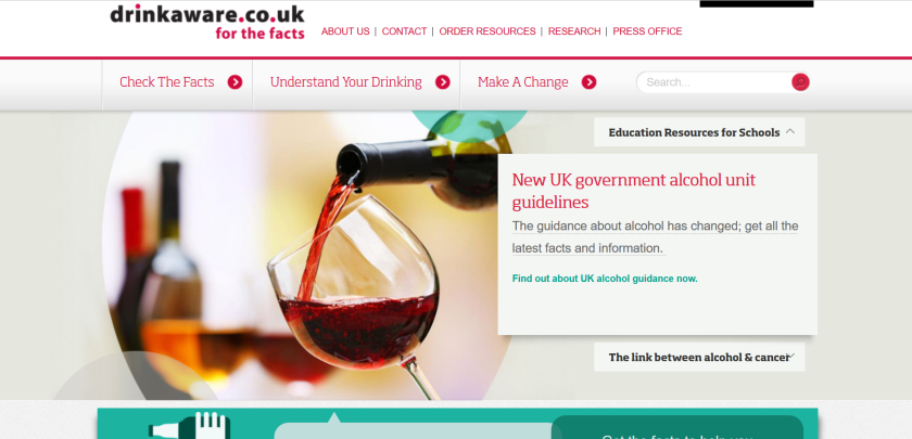 websites for uk study: drinkaware