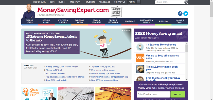 websites for uk study: money saving expert