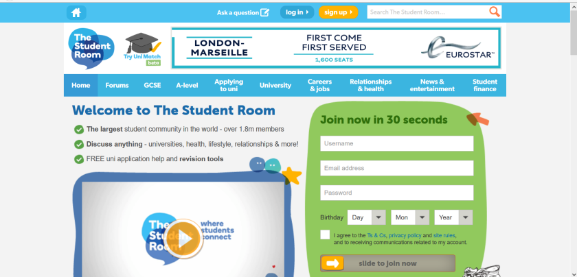 websites for uk study: student room