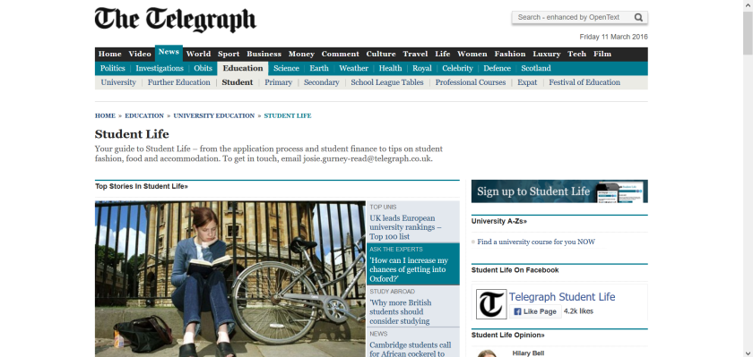 websites for uk study: telegraph