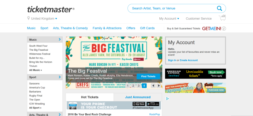 websites for uk study: ticketmaster