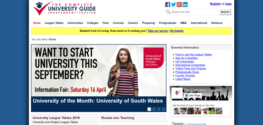 websites for uk study: university guide