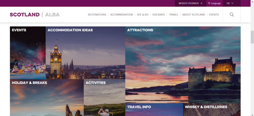 websites for uk study: visit scotland