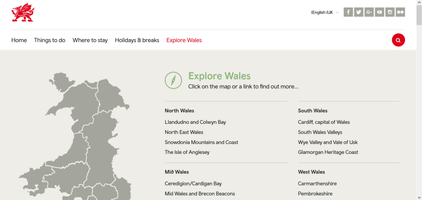 websites for uk study: visit wales