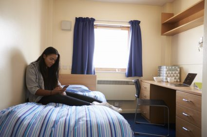 A girl living in student accommodation