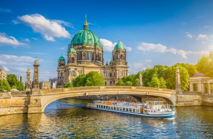 River Spree in Berlin with Berlin Cathedral in the background