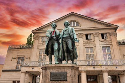 Statue of German poets Goethe and Schiller