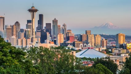 A view of Seattle with Mount Rainier in the background