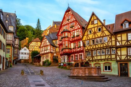 A small German town with timber houses